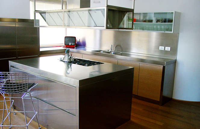 Stainless steel and oak kitchen